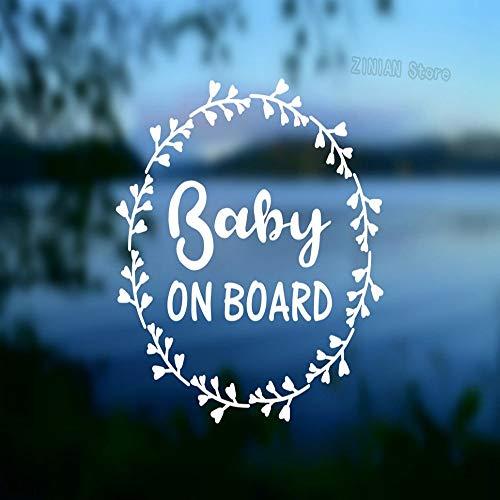 guijiumai Baby An Bord Worte Wandaufkleber Sicherheit Vinyl Aufkleber Autofenster Baby Shower Geschenk wasserdichte Kunst Aufkleber Tapete Kreative schwarz 42X42 cm
