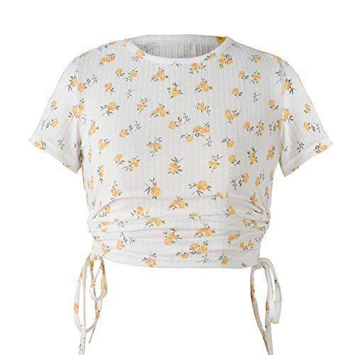 SLYZ Señoras Verano Impreso Camiseta De Manga Corta Cordón Recortado Cuello Redondo Casual Camiseta Femenina Top