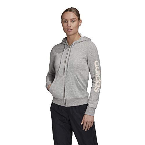 adidas W E Lin FZHD FL Hooded Track Top, Donna, Mgreyh/Pnktin, M