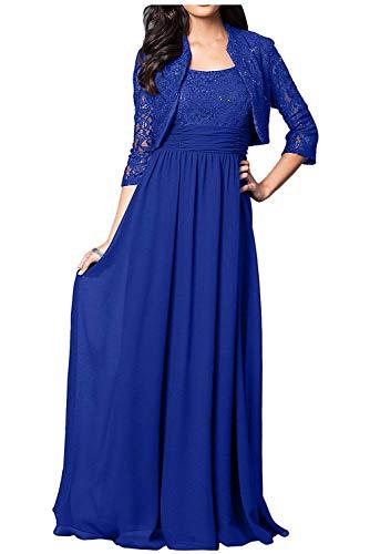 Scharmant - Abito da sera in chiffon, per la mamma e la festa della gioventù, abito da cerimonia con bolero blu royal 40