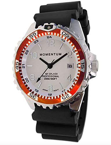 Momentum Men & Women's Dive Series Quartz Sports Watch - M1 Splash | Water Resistant, Easy to Read White Luminous Dial, Date, Screw Crown, Stainless Steel Case & Bezel | Black Band | Analog