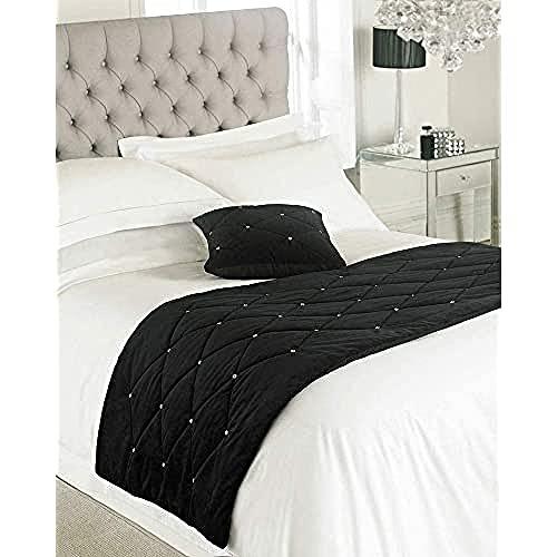Riva Paoletti New Diamante Bed Runner- Schwarz- Diamante Kristall Pailletten- Gesteppte Geometric Design- 100prozent Polyester- Polyester Füllung- 70 X 220cm (28