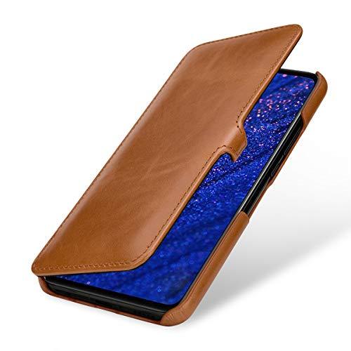 StilGut Lederhülle für Huawei Mate 20 Lite Book Type, Cognac mit Clip