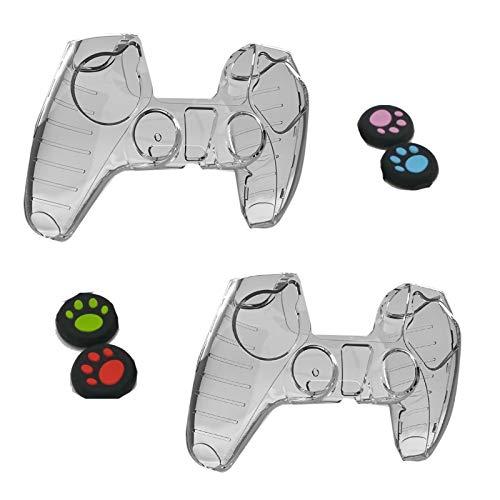 YUDIZWS 2 PCS Playstation 5 Controller Case, PS5 Transparent Hand Gunción de la Mano con 4 Garrote de Garra del Gato,2pcs