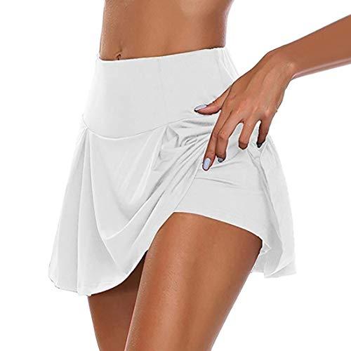 Shujin Damen Tennisrock Skirt Sportrock 2 in1 Sport Skirt Golf Hockey Rock Fitness Yoga Skort Falten Dehnbar schnelltrocknend Hosenrock Laufenrock