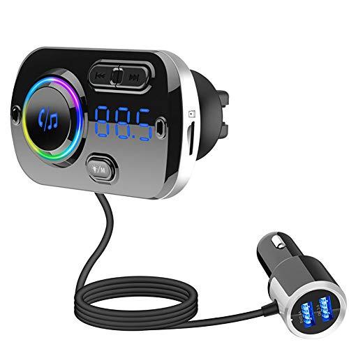 Bluetooth FM-sändare, biladapter med dubbla USB-portar QC3.0 smart snabbladdning och färgglada omgivande ljus, handsfree samtal MP3 musikspelare stöder TF-kort AUX