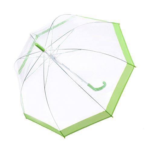 Rainbrace Transparent Bubble Umbrella Auto Open, Fashion Dome Shape with Color Trim (Green)