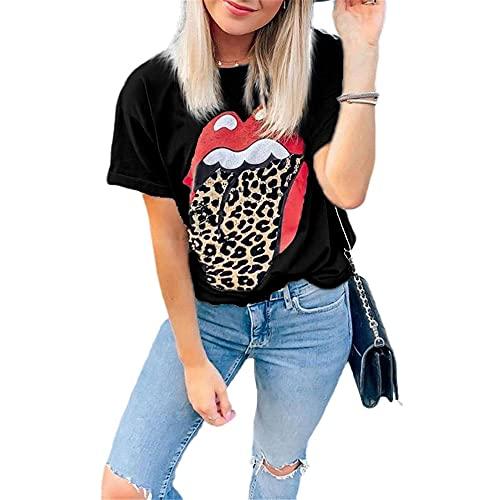 Top Mujeres Shirt Mujeres Sexy Elegante Moda Labios Estampado Cuello Redondo Manga Corta Verano Vacaciones Casual Suelto Cómodo Mujer Camiseta Mujer Blusa A-Black M
