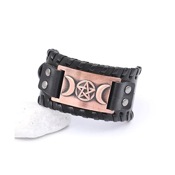 VASSAGO Vintage Metal Amulet Cuff Leather Bracelet 2