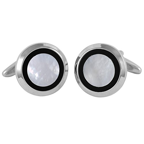 Lindenmann Classic G.CHABROLLE Cufflinks/Cuff Buttons, Silvery, Nacre, Onyx, with Gift Box, 353