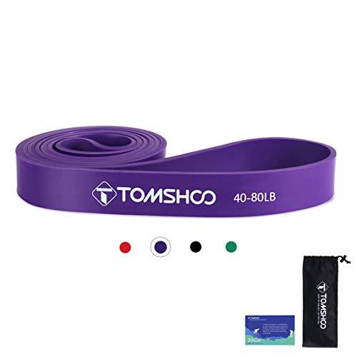 TOMSHOO Bandas de Resistencia Elástica, Cuerdas Elásticas de Fitness, Banda de Resistencia de Látex para Yoga, Pilates, Entrenamiento de Fuerza Muscular (Púrpura)