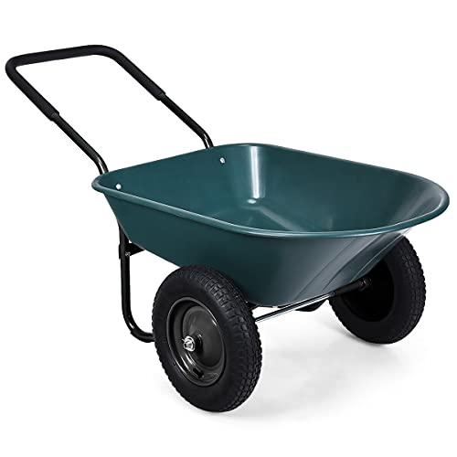 Goplus Dual Wheel Wheelbarrow, Heavy Duty Garden...