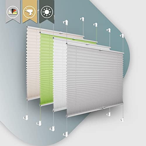 Plissee ohne Bohren klemmfix Jalousie Sonnenschutz Easyfix Faltrollo Lichtdurchlässig Rollo für Fenster & Tür Hellgrau 50x120cm(BXH)