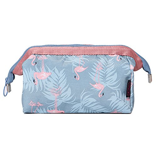 Sukisuki Mode Flamingo Fleur Imprimé Portable Maquillage Pinceaux support Sac pochette Organiseur de voyage, Light Blue Flamingo, Taille unique
