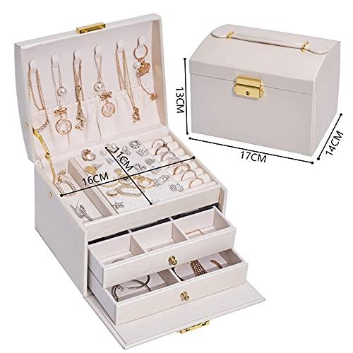SXBF Caja de Joyería, Caja de Almacenamiento de Joyas Multicapa, Joyero de Cuero de Tres Capas y Dos Cajones,White