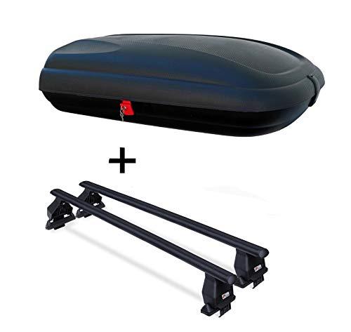 Dachbox VDPBA320 320 Ltr Carbonlook abschließbar + Dachträger Menabo Tema kompatibel mit Volkswagen kompatibel mit VW Golf VII GT GTD ab 2013 Stahl