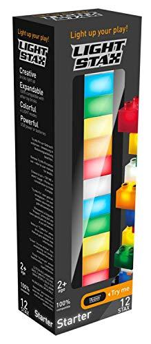Abanico M-03001 - LIGHT STAX Junior Starter, kompatibel mit dem STAX System und allen bekannten Bausteinmarken, 12 STAX in verschiedenen Farben, USB Power Base und Kabel