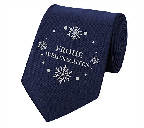 Fabio Farini Schlips Weihnachten Krawatte Weihnachtskrawatte 8cm Winter Schneeflocke dunkelblau, Weihnachtskrawatte:DE