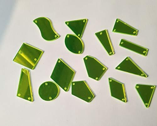 Accesorios de espejo acrílico para coser en la ropa, ideal para crear vestidos y adornar complementos como bolsas, zapatos, etc. Amarillo neón.