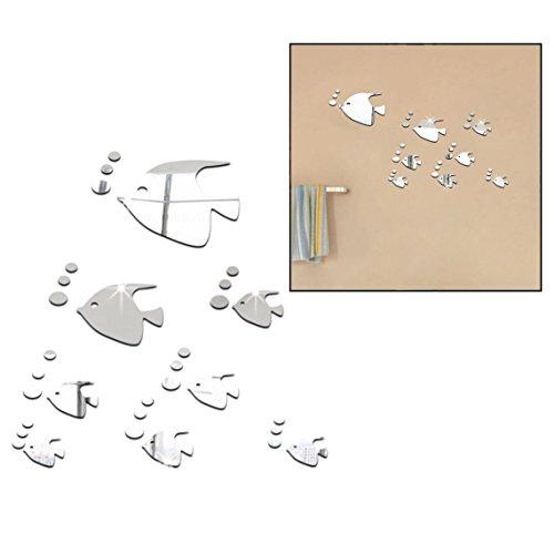OFKPO 3D Spiegel Wandaufkleber,Acryl Tropischer Fisch Spiegel Wandtattoo Wand Dekoration für Schlafzimmer Wohnzimmer
