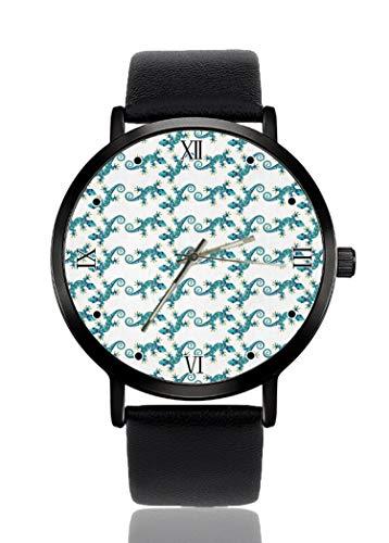PALFREY - Orologio da polso con motivo geco, blu, stile business, casual, sportivo, al quarzo, impermeabile, unisex