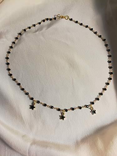 Collana girocollo stile rosario con cristalli neri e stelline
