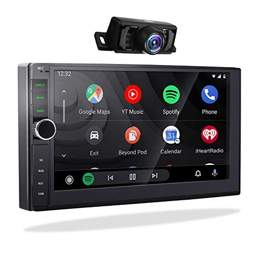2din Autoradio mit Carplay Android Auto,2G/32G Android 10.0 Doppel Din Radio Bluetooth GPS Navigation Moniceiver 2 Din Naviceiver 7 Zoll Bildschirm Unterhaltung Multimedia Radio WiFi/BT USB SWC