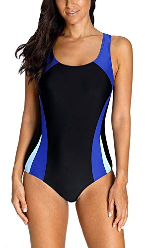 Anwell Damen sportlich einteilig Schwimmanzug Wettbewerb Badeanzug Blau XL