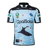 LQLD 2018-19 Sharks Home Court, Loin du Jeu Football Maillots, Sharks Rugby Jersey commémoratif de Formation Maillots Hommes Chemises Manches Courtes T-Shirt de Sport,Commemorative,L