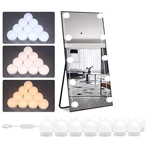 Timker Led Spiegelleuchte, USB 14Stk Spiegel Beleuchtung Hollywood-Stil LED Spiegelleuchte,Mit 3 Licht Modus und 10 Dimmbare Helligkeiten für Kosmetikspiegel/Schminktisch/Badzimmer Spiegel