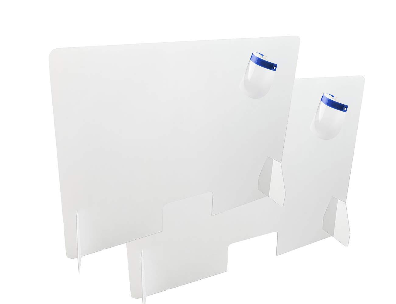 Dos Mamparas Protectoras para Mostrador | Tamaño 120 cm de ancho X 80 cms de alto, 4 mm de grosor, ventana de 15 x 26 cm | Metacrilato | Protector mostrador | Color transparente