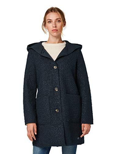 Tom Tailor 1012047 Damen Mantel in Boucle-Qualität mit Kapuze und Knopfleiste, Groesse 38, marine