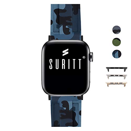 Suritt ® Correa para Apple Watch Sport Camo (3 Colores Disponibles). 3 Colores de Hebilla y Adaptador para Elegir (Negro - Plata - Oro)(Series 1, 2, 3, 4 y 5). (42mm / 44mm, Blue Camo/Black)