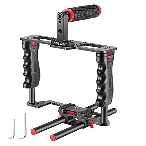 Neewer Filmproduktion Kamera Video Cage Kit mit Video Cage Top Handgriff Schuh-Einfassung 15mm Rod für Canon Nikon Sony und andere DSLR-Kameras Folgefokus Mattebox rotschwarz
