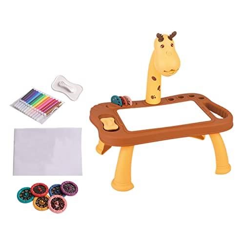 Mesa de proyección de dibujo para niños, juguete con luz y música para dibujar y dibujar, proyector inteligente para niños de 3 a 8 años