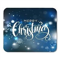 マウスパッドメリークリスマスレタリングスノーフレークスパークルテキストハッピースノーマウスパッドノートブック、デスクトップコンピューターマウスマット、オフィス用品