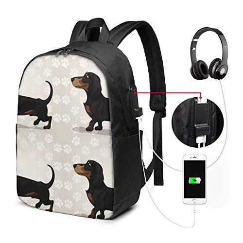 Reise Laptop Rucksack Netter Dackel Hund mit Pfoten Computer Business Rucksäcke mit USB Ladeanschluss Unisex Schule Bookbag Casual Wandertagesrucksack
