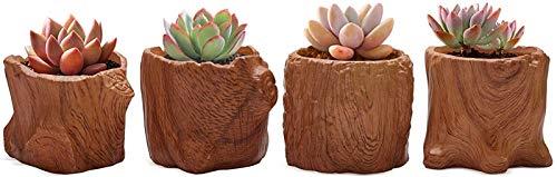 LF- 8.5cm Cerámica Suculenta Potes Tocón COLECCIÓN CONJUNTO DE 4, PUL EJEMPLA DE LA SEMANA DE GRAN DE MADERA DE IMITACIÓN con drenaje, hierbas de porcelana marrón Cactus Bonsai Regalos de jardín de Na