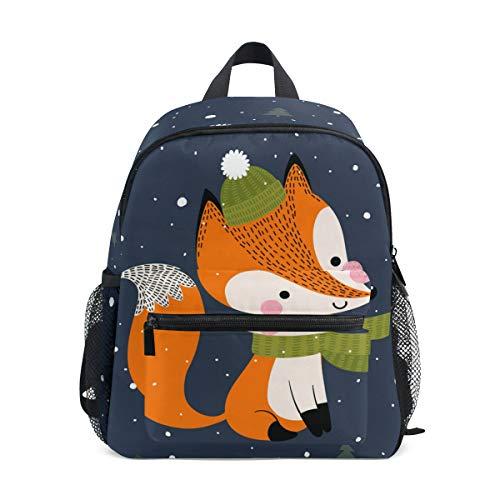 Mochila Escolar para niños con Correa en el Pecho, Coloridos Unicornios, Bolsa para Libros para niños y niñas Azul Fox 002. Talla única