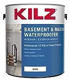 Product Image of the KILZ Interior/Exterior Basement and Masonry Waterproofing Paint, White, 1-gallon
