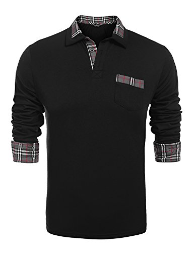 COOFANDY Men's Classic Casual Long Sleeve Plaid Collar Polo Shirt with Pockets (S, A-Long Sleeve Black)