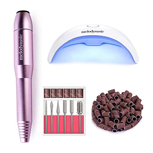 MelodySusie Portable Electric Nail Drill, 6W Portable UV LED Nail Lamp, Compact Gel Nail Dryer Light Curing Polishes with 45s 60s Timer Setting, Efile Electrical Nail File Kit for Acrylic