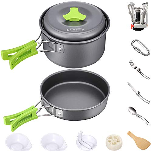 G4Free Camping Cookware Mess Kit 4/13 Piece Hiking Backpacking Picnic Cooking Bowl Non Stick Pot Pan Knife Spoon Set (16PCS-Green)