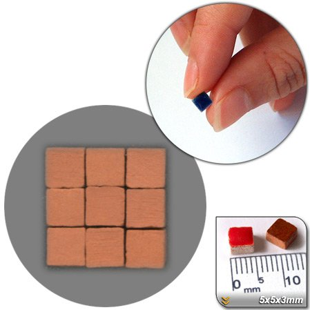 RN01 Mosaic Minis Raw 5x5x3/ mm , Pack of 500 CK Brick Red /& # 252