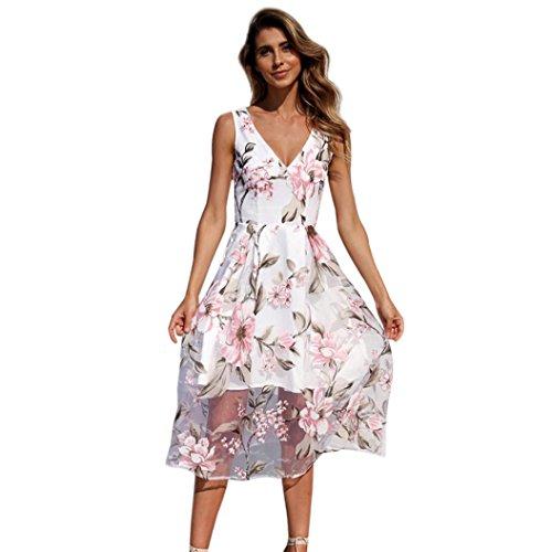 Kleid Damen,Binggong Frauen Sommer V-Ausschnitt mit Blumenmuster Maxi Kleid Ärmellos Mesh Kleid...