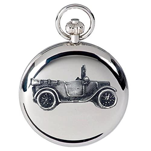Classic Car 7 Chummy ref13 - Reloj de bolsillo de cuarzo con diseño de efecto peltre en caja de plata pulida