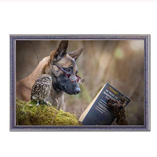 MULMF Leuke Dieren Posters en Prints Hond Lezen Voedsel Muurfoto's voor Woonkamer Home Decor Wall Art Canvas Prints- 40X60Cm Geen Frame