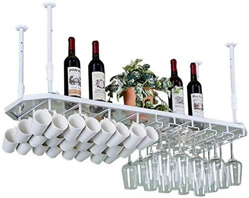 JXXDQ Stemware ställ, vägg tak hängande vinflaska, bägare, mugg förvaring organisatör enhet flytande hyllor barer köksinredning – vit metallram (storlek: 100 cm)