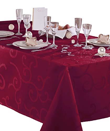 Damast-tafelkleed, gecoat, Madigan, kersenrood, rechthoekig, 140 x 200 cm