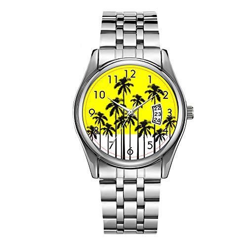 Reloj de lujo de los hombres 30 m impermeable fecha reloj masculino deportes relojes hombres cuarzo casual Navidad reloj colorido verano amarillo neón y palmeras tropicales reloj de pulsera